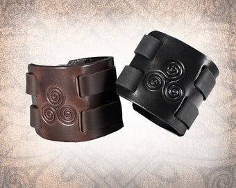 Triple Spiral 2 Band Cuff - Leather Cuff, Leather Wristband, Leather Bracelet, Black Leather Cuff, Leather Band, Celtic Cuff (1 Cuff Only)