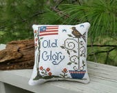 Completed Cross Stitch Pillow OLD GLORY Flag & Flowers American Home Decor