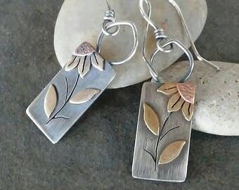 Rustic-Handmade- Sunflower-Artisan-OOAK-Dangle earrings.