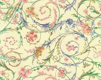 Delicate Floral Swirl Florentine Print Italian Paper ~ Kartos Italy K209