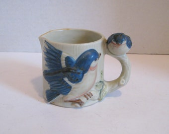 Free Shipping Decorative Porcelain Blue Bird Creamer Small Pitcher