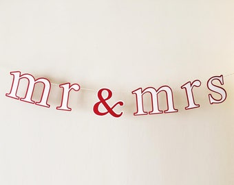 Mr & Mrs or Dr Banner - Wedding Photo Prop, Backdrop, Cake, Sweetheart Table, Chair Sign - Pearl White, Red Letters with Gold Glitter Twine