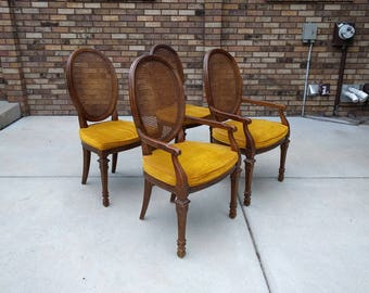 4 FRENCH country dark walnut & cane back dining chairs