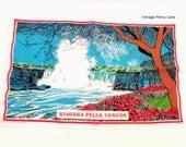 Vintage Niagara Falls Tea / Hand Towel, Printed Cotton Linen by Tony Paine