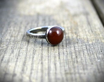 READY TO SHIP - Sterling Green Carnelian Stacker Ring - Size 7