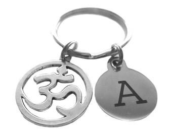 Om Ohm Aum Customized Initial Yoga Reiki Bag Charm Keychain