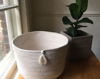 Large handmade cotton rope basket