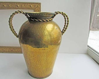 Large Mid Century Vintage Hammered Brass Rosenthal Netter Vase w Rope Turned Handles, Old Patina Finish, Centerpiece  Vase, Statement Piece