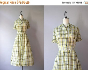 STOREWIDE SALE 1940s Dress / Vintage 40s Sheer Yellow Plaid Day Dress / Crisp Cotton Golden Plaid 50s Dress