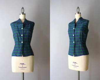 1950s Blouse / 50s Emerald Plaid Cotton Top / Vintage 1950s Sleeveless Blouse XS small