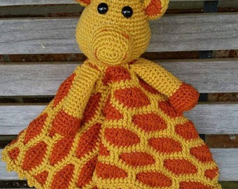 Giraffe Lovie, Crochet Giraffe Security Blanket, made to order