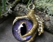 Gothic Steampunk Single Claw Pendant with Purple Galaxy Eye