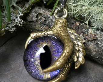 Gothic Steampunk Single Claw Pendant with Purple Galaxy Eye