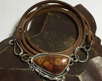 Leather Wrap Bracelet with Poppy Jasper Stone Cabochon - Sized to Order