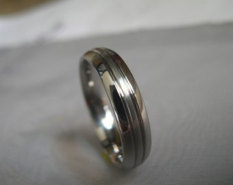 Titanium Ring, Brushed/Polished, Wedding Band, Domed, Cut Grooves