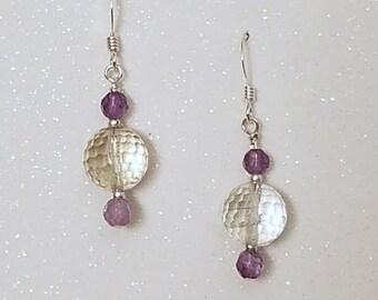 E1116 Green & Lavender Amethyst Earrings, February Birthstone, Aquaris