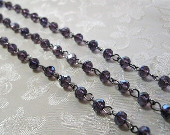 "One Meter 39.5"" Dark Purple Transparent Faceted Rondelle Glass 4 x 6mm Beaded Rosary Link Chain Gunmetal Silver 994"
