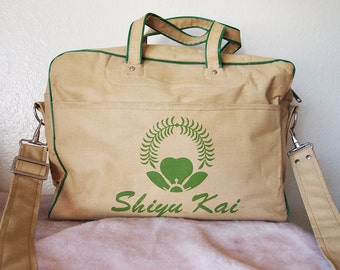 SHIYU KAI // Vintage 1960s Weekender Bag Carryon Flight Luggage Carryall 60s Airline Bag Pan Am Travel Purse Burlap Overnight Japan