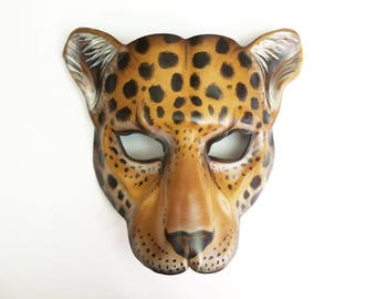Leopard Leather Mask cat wildcat spotted cat animal mask costume art