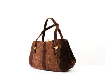 1960s Brown Velvet Handbag