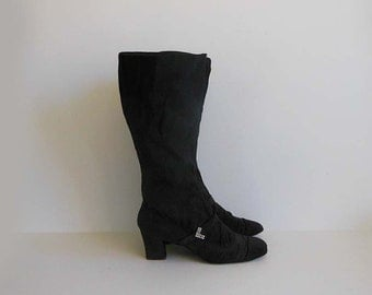 1960s boots / Vintage 60's Bally Couture Mod Rhinestone Knee Up Boots