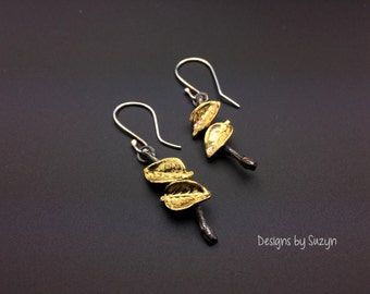 New Design Oxidized  Silver and 22k Gold Leaf and twig  Dangle Earrings