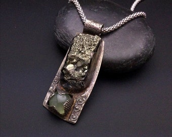 ON SALE RAW - Edgy and Unusual Sterling Silver, Pyrite and Prehnite Ooak Pendant
