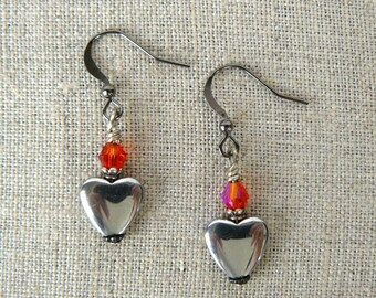 Silver Grey Heart Earrings, Orange and Grey Dangles, Swarovski Elements Crystal and Hematite Heart, Gift for Her, Dangle Earrings