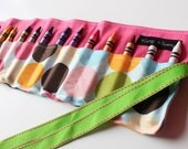 Girl Polka Dot Crayon Holder-Polka Dot Crayon Roll-Girl Birthday Gift-Girl Easter Basket Gift-Girl Travel Accessory-Crayon Organization