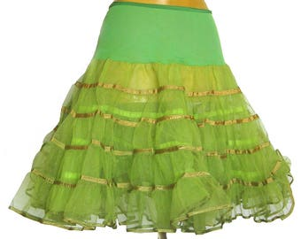Vintage 1950s Lime GREEN Tulle Crinoline Petticoat - Can Can - Dance Slip / Malco Modes / S