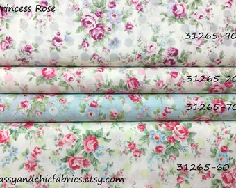 FQ ~ Half Yard ~ By the Yard ~ Princess Roses  ~ 4 colors ~ 31265, Lecien Cotton Quilt Fabrics