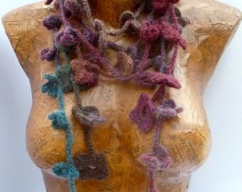 Variegated IX crochet lariat extra long fiber art scarf, bohemian, Coachella, romantic, boa, statement, fashion accessory