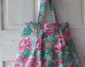 Shoulder Bag, tote Handmade fabric bag shopping bag flower bag special yimmeke price