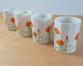 1980's Otagiri Japan Coffee Mugs • Orange Chrysanthemums • Set of 4 Vintage Coffee Cups