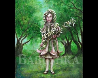 Flora, Original Painting, Child, Spring, Forest, Flowers, Fairy Tale, Costume,  Folk Tale, Girl, Spirit of Spring, Rebirth