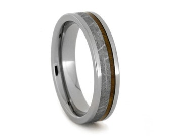 Meteorite Ring with Lignum Vitae Wood, Titanium Wedding Band, Natural Ring