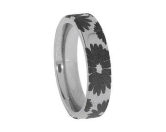 Polished Titanium Ring, Engraved Flower Pattern