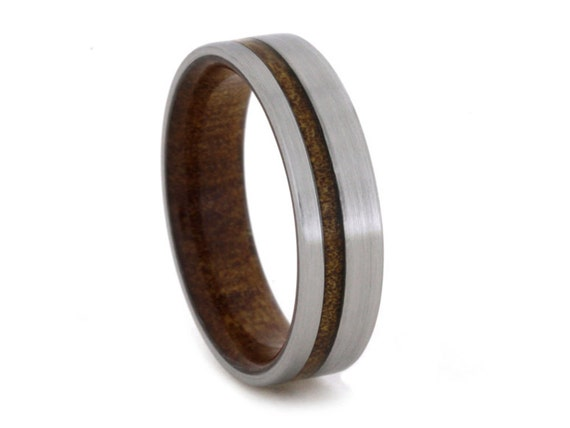 Kauri Wood Wedding Band with Brushed Titanium Finish and Wood Sleeve, Ring Armor Waterproofing Included