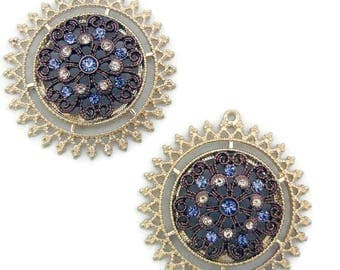 Pair of  Two-tone Round Sun or Flower Blue Rhinestone Accented Charms