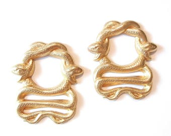 Pair of Brass Snake Serpent Frame Stampings
