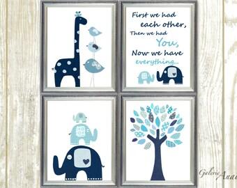 Navy blue aqua Nursery wall art kids room baby nursery children art tree giraffe bird elephant First we had each other Set of four prints