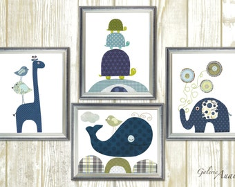 Navy blue green nursery Kids wall art kids room decor baby art whale turtle giraffe nursery birds elephant nursery whale Set of four prints