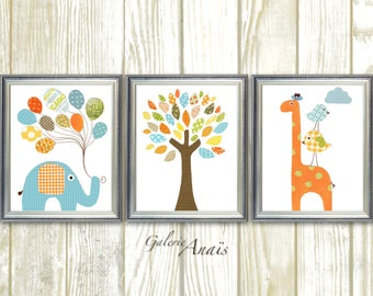 Nursery Art Elephant Nursery Decor Giraffe art print balloon tree blue green orange nursery Wall Art set of three prints