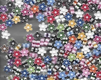 Beads, Flower Shapes in assorted colors.