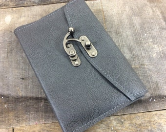 Refillable Gray Leather Latch Notebook