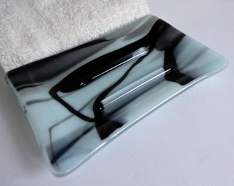 Fused Glass Soap Dish in Seafoam Green and Black by BPRDesigns
