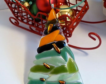 Fused Glass Orange, Black and Green Christmas Tree Ornament