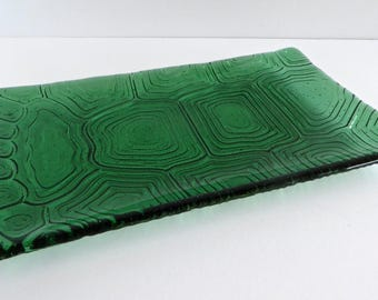 Fused Glass Turtle Shell Imprinted Plate in Ginkgo Green by BPRDesigns