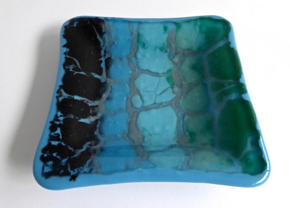 Fused Glass Dish in Blue, Green, Black and Gray