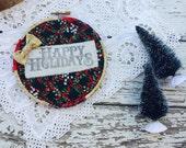 "Happy Holidays Christmas Hoop Art 5"""